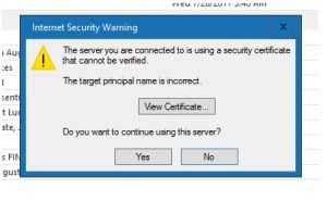 The server you are connected to is using a certificate that cannot be verified